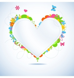 Colorful floral paper heart vector