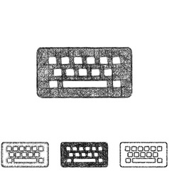 Wireless keyboard icon set - sketch line art vector