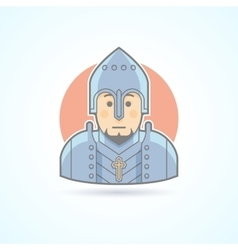 Knight in armor middle age warrior icon vector