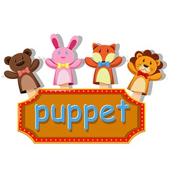 Animals puppets with sign vector