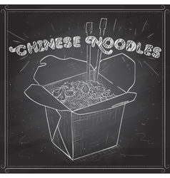Chinese noodles box scetch on a black board vector