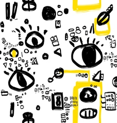 Black white and yellow graphic pattern vector