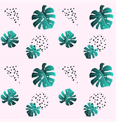 A leaf of monstera and dots pink seamless pattern vector