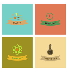 Assembly flat icons history math biology chemistry vector