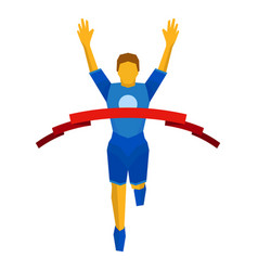 Athlete crosses finish line red ribbon vector