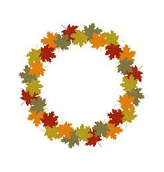 autumn leaves wreath frame vector image