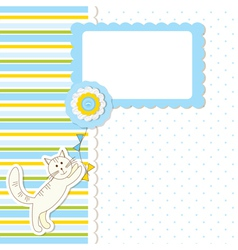 Baby shower with cat vector image
