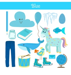 Blue learn the color education set of primary vector