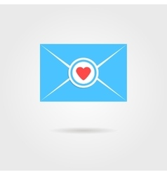 blue valentine letter with red heart stamp vector image