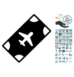Boarding pass icon with 2017 year bonus symbols vector