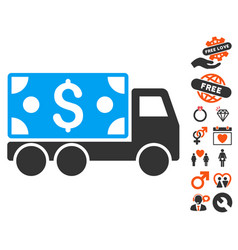 Cash delivery icon with love bonus vector