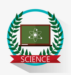 Chalkboard science biology atom emblem vector