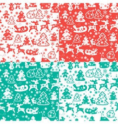 Christmas and New Year seamless pattern with snowf vector image