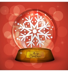 Christmas Snow globe with snowflake vector image vector image