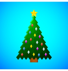 Christmas-tree-with-decorations-on-blue-background vector