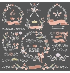 Colored Doodles floral decor setBorderswreath vector image vector image