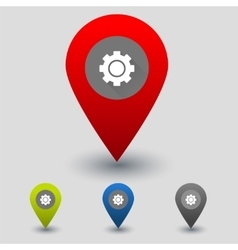 Colorful navigation signs with cogwheel vector image