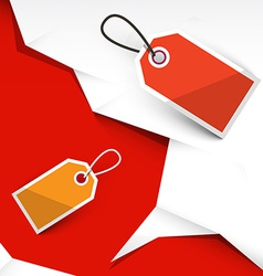 Crumpled Papers and Paper Labels on Red Background vector image vector image