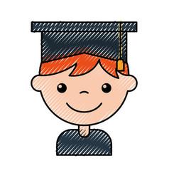 cute boy graduated icon vector image