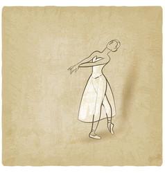 dancing ballerina sketch old background vector image