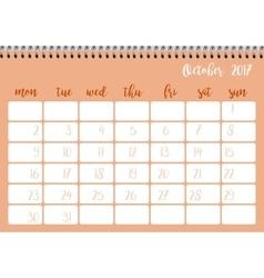 Desk calendar template for month october week vector