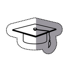 Figure emblem graduation hat icon vector