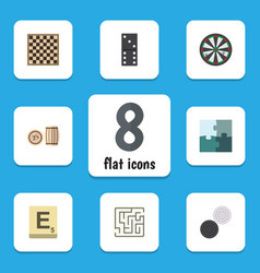 Flat icon games set of arrow lottery jigsaw and vector