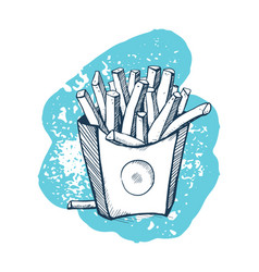 French fries hand drawn icon vector