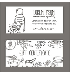 Gift certificate with cosmetic bottles organic vector