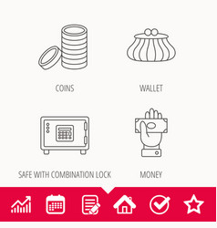 Give money cash money and wallet icons vector