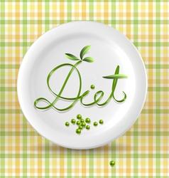 Green menu word on plate vector image