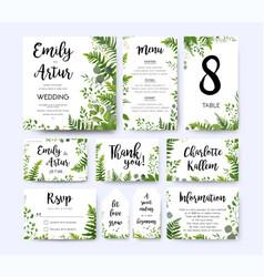 Greenery wedding invite menu thank you card set vector
