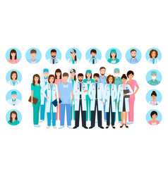 group of doctors and nurses characters in vector image