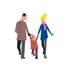 happy young family on walk vector image