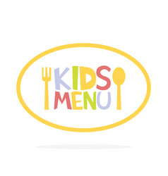 Kids menu ellipse label template vector