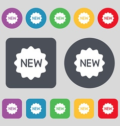 New icon sign a set of 12 colored buttons flat vector