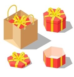 Opened and closed present gift hexagonal boxes vector