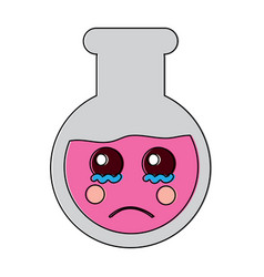 Sad flask laboratory kawaii icon image vector