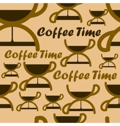 Seamless pattern with coffee time symbol vector image