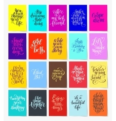 Set of 20 calligraphy posters with hand lettering vector