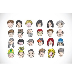 Set of various cartoon faces vector image vector image