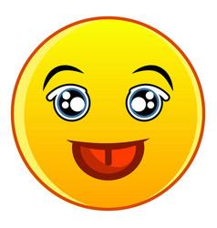 Smiling yellow emoticon icon cartoon style vector