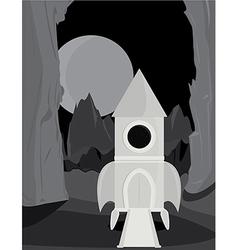 Spaceship on alien planet vector