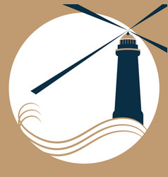 the lighthouse on the waves gives a light signal vector image