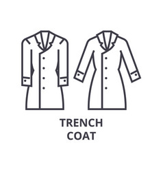 trench coat line icon outline sign linear symbol vector image