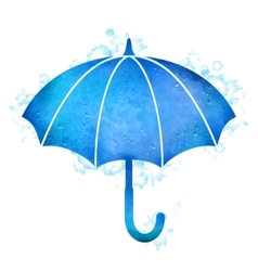 Watercolor umbrella rain drops vector