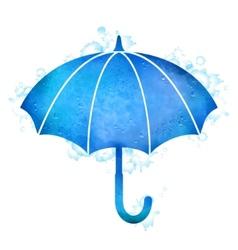Watercolor umbrella rain drops vector