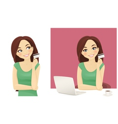Woman holding credit card vector image vector image