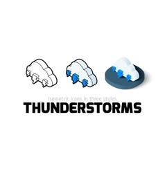 Thunderstorms icon in different style vector image