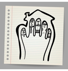 Doodle fingers family in the house vector